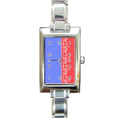 Lace Dots With Rose Purple Rectangular Italian Charm Watch