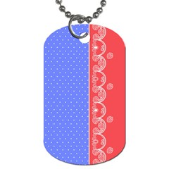 Lace Dots With Rose Purple Dog Tag (One Side)