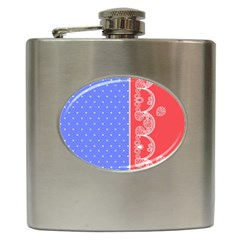 Lace Dots With Rose Purple Hip Flask (6 oz)