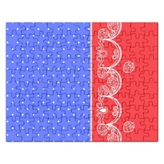 Lace Dots With Rose Purple Jigsaw Puzzle (Rectangular)