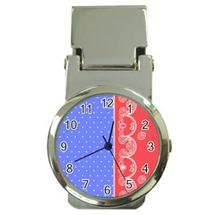 Lace Dots With Rose Purple Money Clip Watch