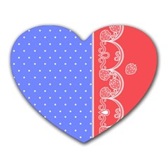 Lace Dots With Rose Purple Mousepad (heart)