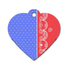 Lace Dots With Rose Purple Dog Tag Heart (One Side)