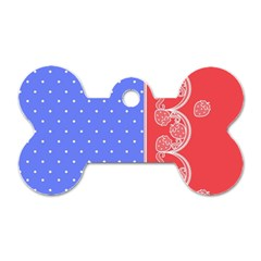 Lace Dots With Rose Purple Dog Tag Bone (One Side)