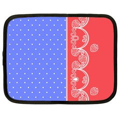 Lace Dots With Rose Purple Netbook Case (Large)