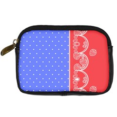 Lace Dots With Rose Purple Digital Camera Leather Case
