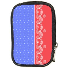 Lace Dots With Rose Purple Compact Camera Leather Case