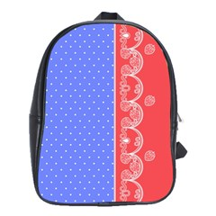 Lace Dots With Rose Purple School Bag (Large)