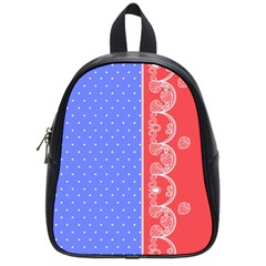 Lace Dots With Rose Purple School Bag (Small)