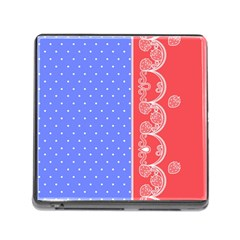 Lace Dots With Rose Purple Memory Card Reader With Storage (square)