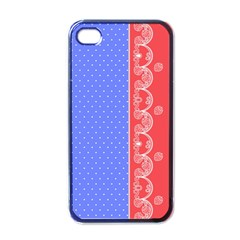 Lace Dots With Rose Purple Apple iPhone 4 Case (Black)