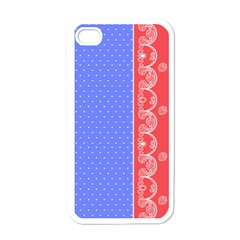 Lace Dots With Rose Purple Apple iPhone 4 Case (White)