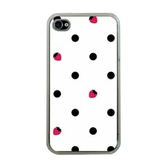 Strawberry Dots Black Apple iPhone 4 Case (Clear)