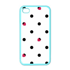 Strawberry Dots Black Apple iPhone 4 Case (Color)