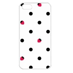 Strawberry Dots Black Apple Iphone 5 Seamless Case (white)