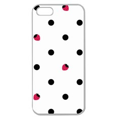 Strawberry Dots Black Apple Seamless iPhone 5 Case (Clear)