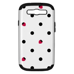 Strawberry Dots Black Samsung Galaxy S III Hardshell Case (PC+Silicone)