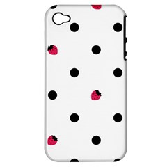 Strawberry Dots Black Apple iPhone 4/4S Hardshell Case (PC+Silicone)