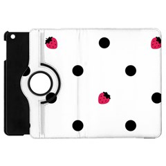 Strawberry Dots Black Apple iPad Mini Flip 360 Case