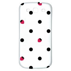 Strawberry Dots Black Samsung Galaxy S3 S III Classic Hardshell Back Case