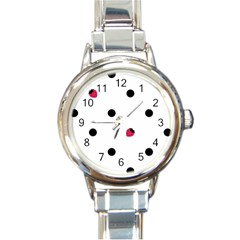 Strawberry Dots Black Round Italian Charm Watch