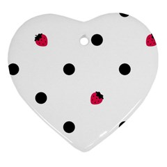 Strawberry Dots Black Ornament (Heart)