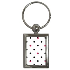 Strawberry Dots Black Key Chain (Rectangle)