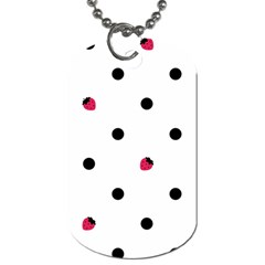 Strawberry Dots Black Dog Tag (One Side)