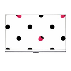 Strawberry Dots Black Business Card Holder