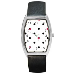 Strawberry Dots Black Barrel Style Metal Watch