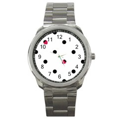 Strawberry Dots Black Sport Metal Watch