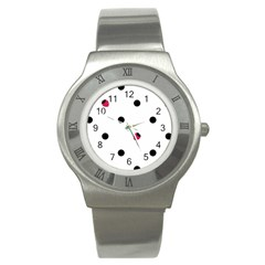 Strawberry Dots Black Stainless Steel Watch