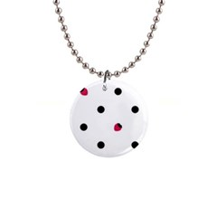 Strawberry Dots Black 1  Button Necklace