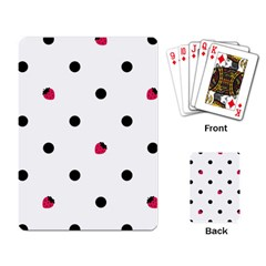 Strawberry Dots Black Playing Cards Single Design