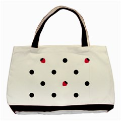 Strawberry Dots Black Classic Tote Bag