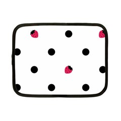 Strawberry Dots Black Netbook Case (Small)