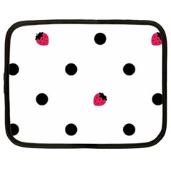 Strawberry Dots Black Netbook Case (large)