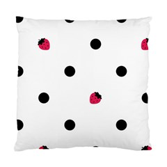 Strawberry Dots Black Cushion Case (One Side)