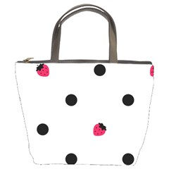 Strawberry Dots Black Bucket Bag