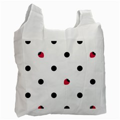 Strawberry Dots Black Recycle Bag (one Side)