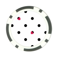 Strawberry Dots Black Poker Chip Card Guard (10 Pack)