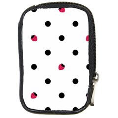 Strawberry Dots Black Compact Camera Leather Case