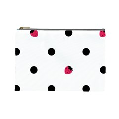 Strawberry Dots Black Cosmetic Bag (Large)