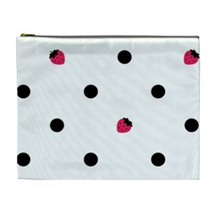 Strawberry Dots Black Cosmetic Bag (XL)