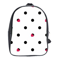 Strawberry Dots Black School Bag (Large)