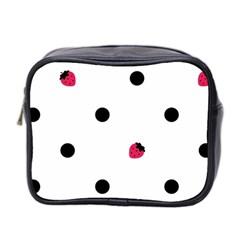 Strawberry Dots Black Mini Toiletries Bag (Two Sides)