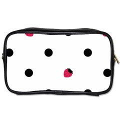 Strawberry Dots Black Toiletries Bag (one Side)