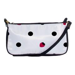 Strawberry Dots Black Shoulder Clutch Bag