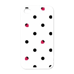 Strawberry Dots Black Apple Iphone 4 Case (white)