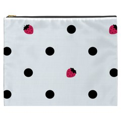 Strawberry Dots Black Cosmetic Bag (xxxl)